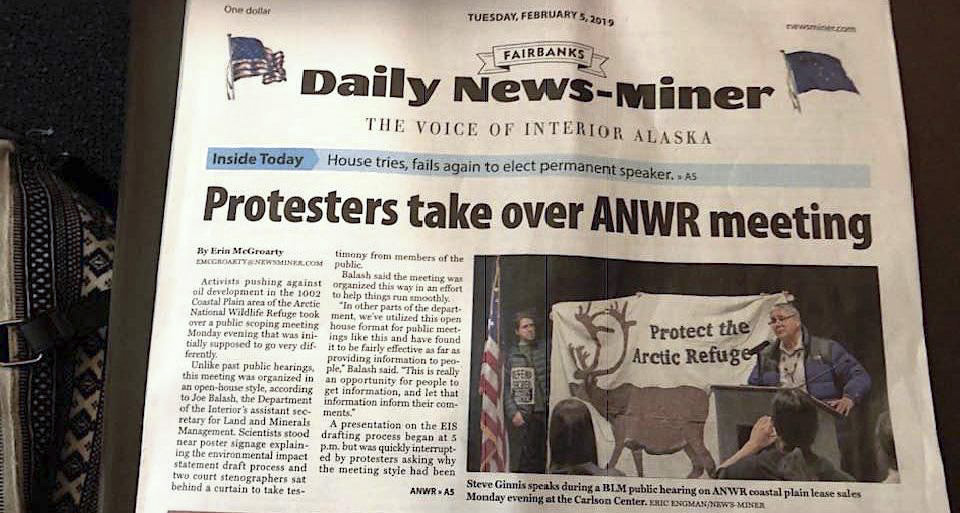 Front-page article on the Arctic Refuge Public Hearing in Fairbanks, Fairbanks Daily News-Miner, February 5, 2019.